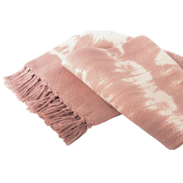 Voile Blush Tie Dye Throw Blanket, folded view