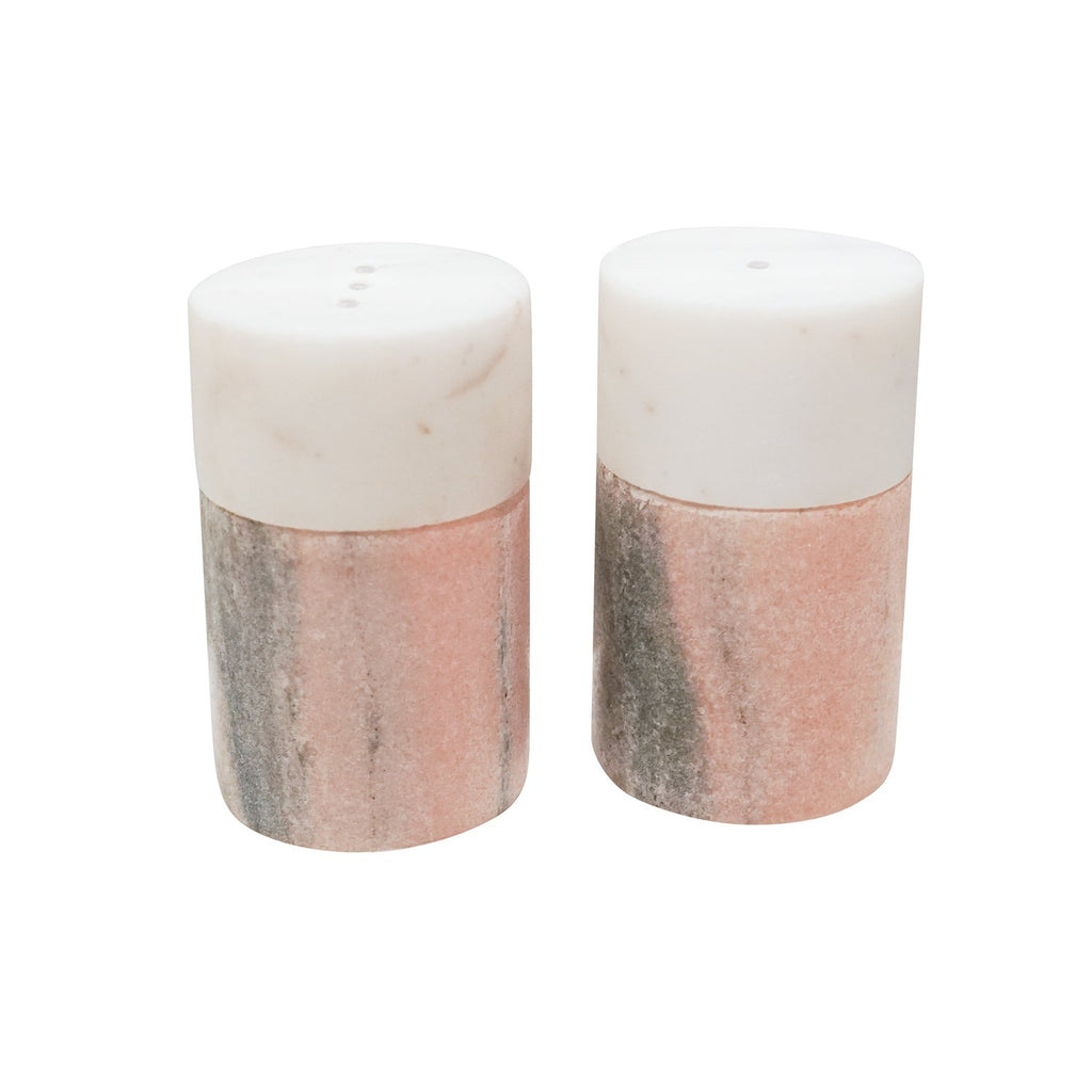 Himalayan Pink and White Marble Salt & Pepper Shakers, front view