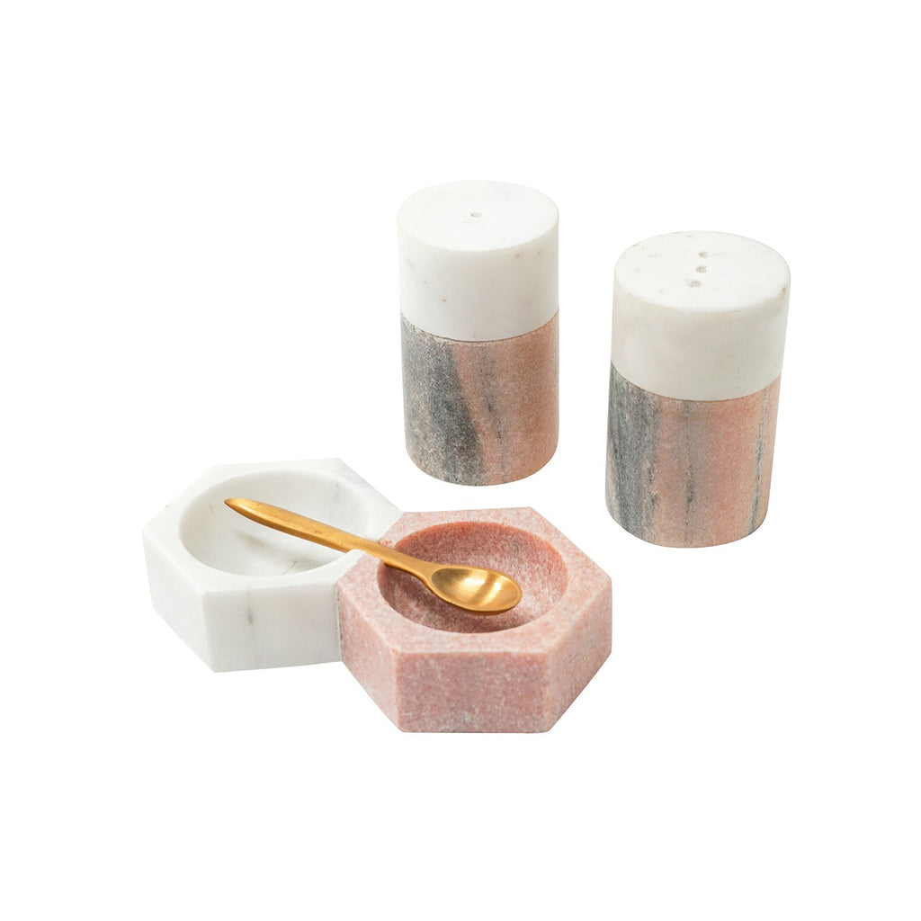Himalayan Pink and White Marble Salt & Pepper Shakers, front view with Salt & Pepper Holders