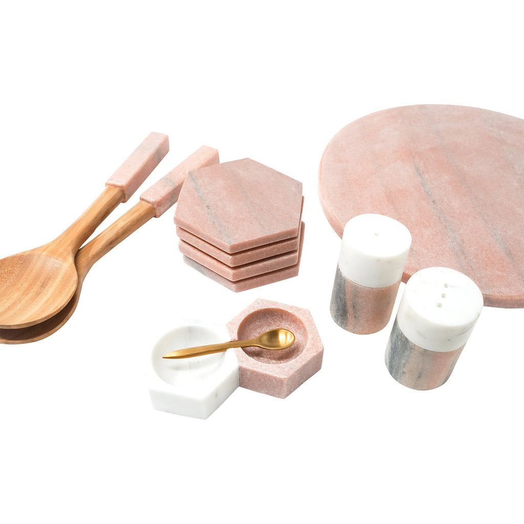 Himalayan Pink and White Marble Salt & Pepper Shakers