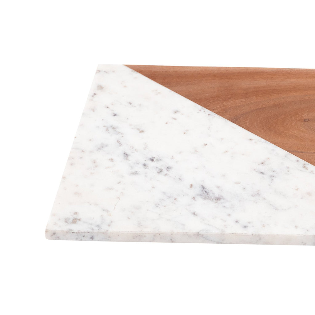 Marseilles Marble and Wood Serving Dish, close-up view
