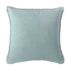 Square Portofino Crossdye Coastal Blue Linen Pillow, front view