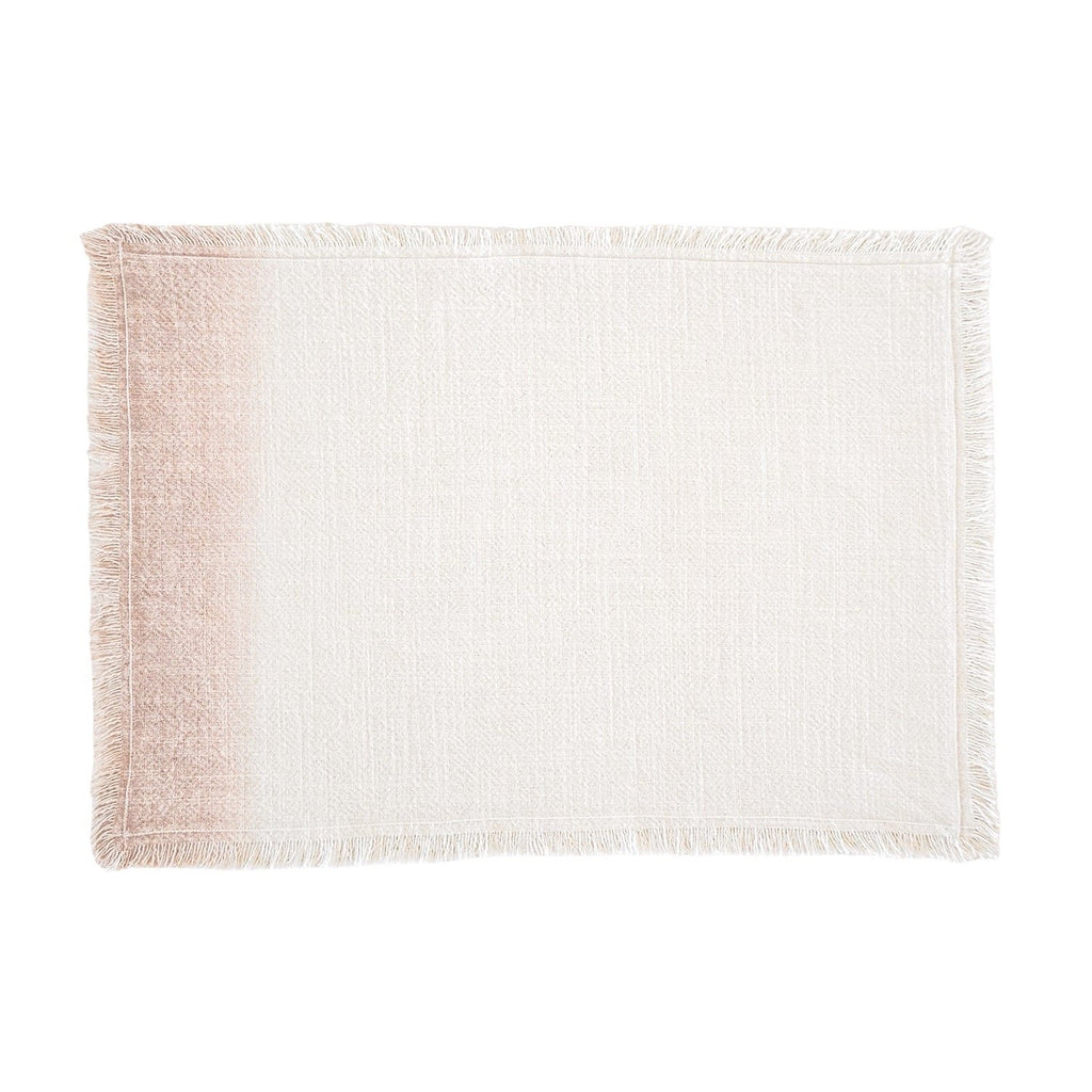 Dahlia Blush Ombre Fringe Placemats Set of 4, top view