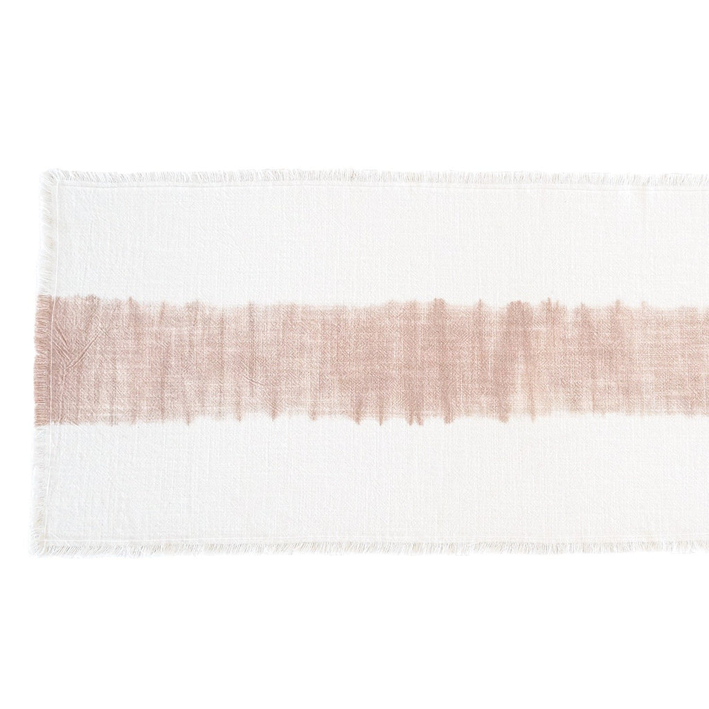 Dahlia Blush Ombre Fringe Table Runner, top view