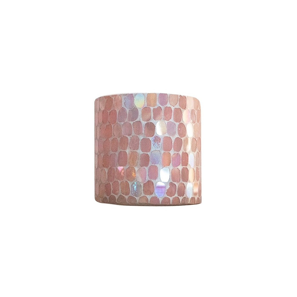 Small Cassis Pink Mosaic Votive Holder, front view