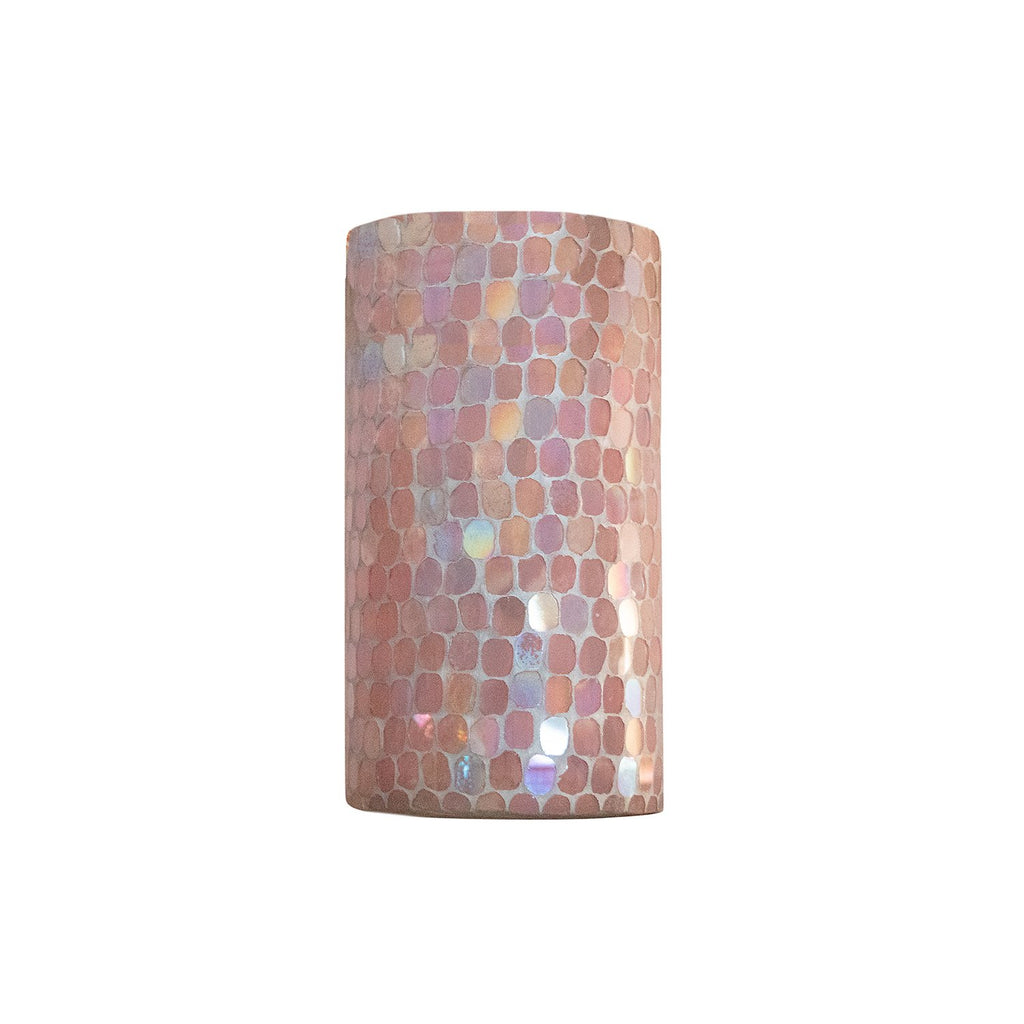 Large Cassis Pink Mosaic Votive Holder, front view