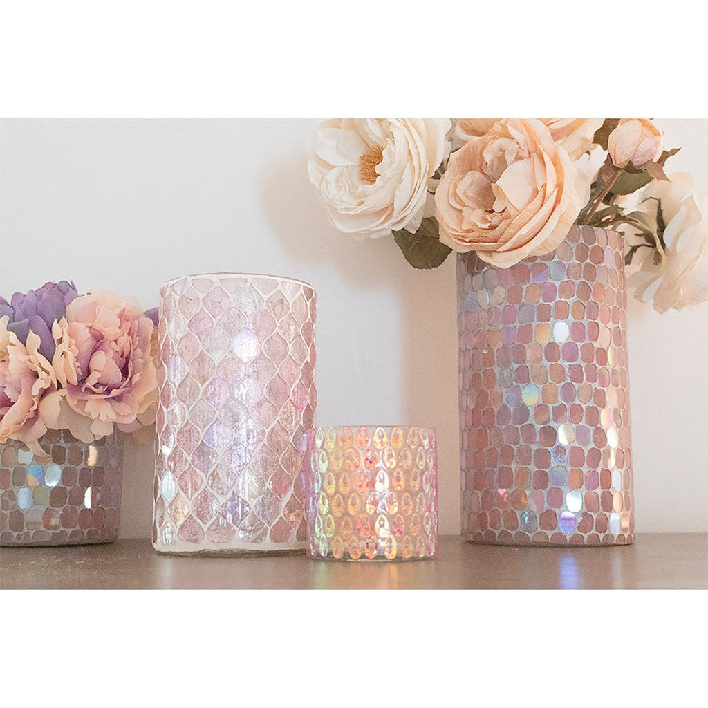 Cassis Pink Mosaic Votive Holder, lifestyle view