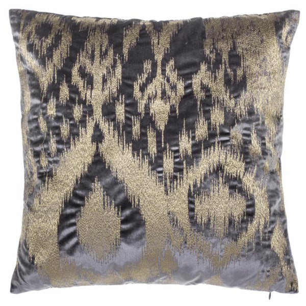 Gray Gold Storey Pillow, square, front view