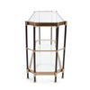 Jackson Brass Console Table, side view