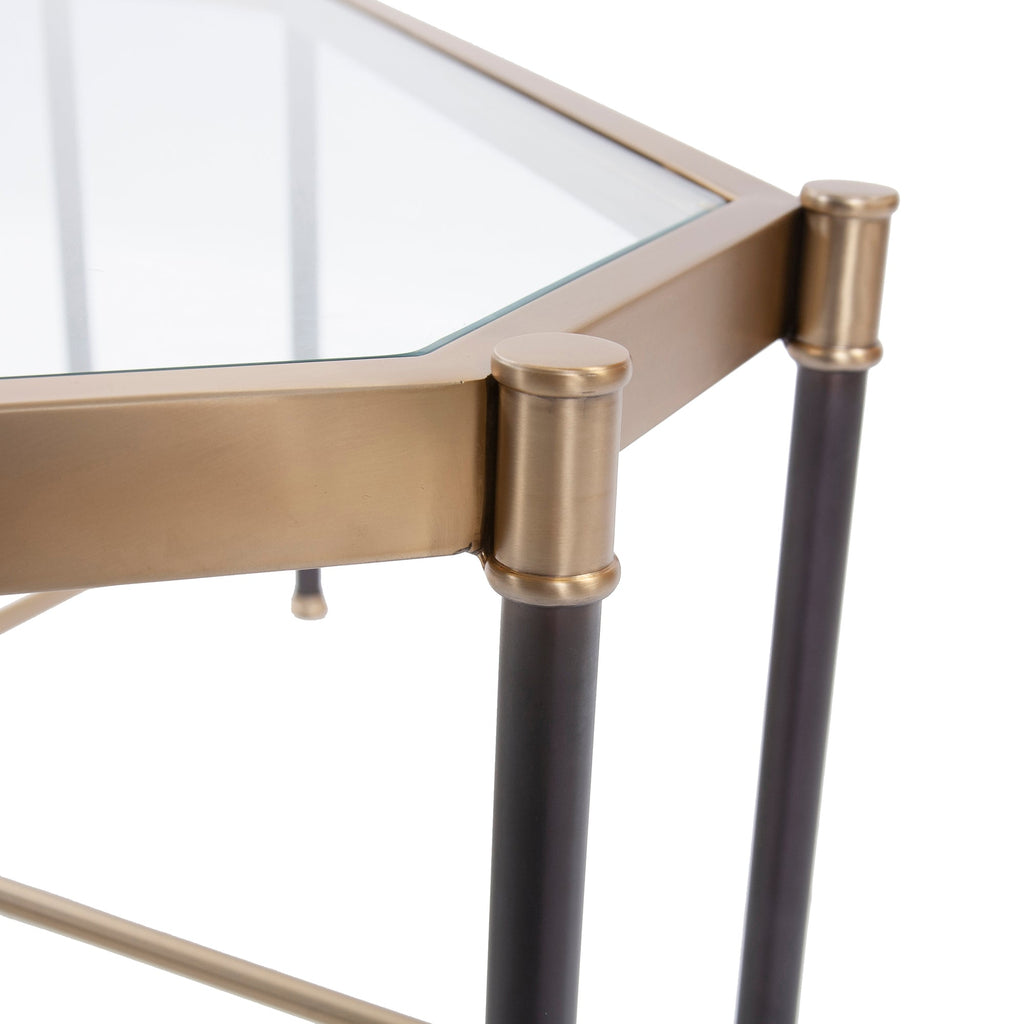 Jackson Brass Console Table, close-up view