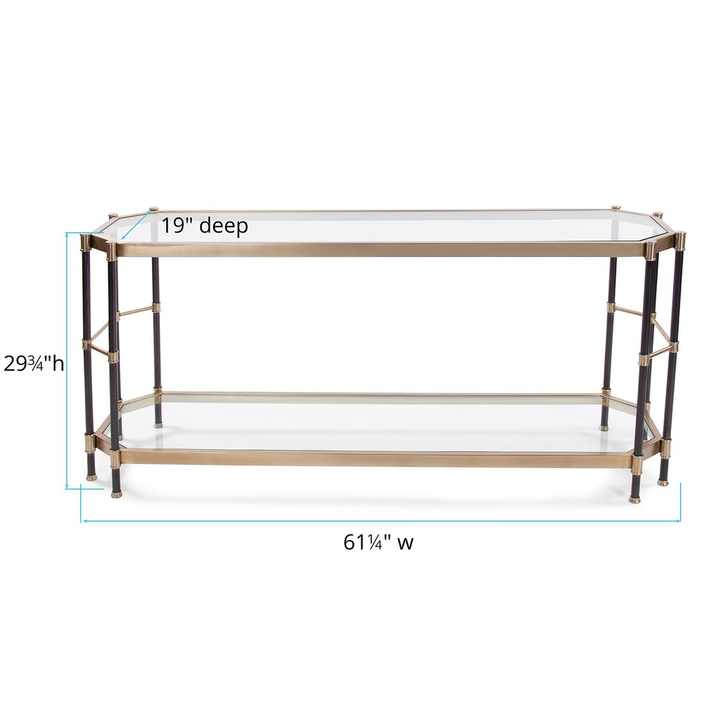 Jackson Brass Console Table, dimensions and measurements