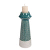 Large Corsica Ceramic Candle Holder, front view with candle