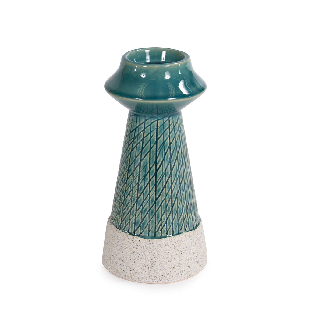 Small Corsica Ceramic Candle Holder, front view