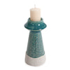 Small Corsica Ceramic Candle Holder, front view with candle