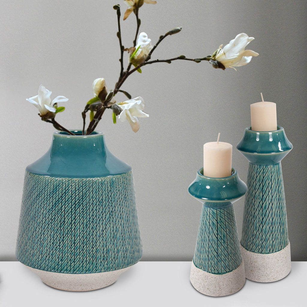 Small Corsica Ceramic Candle Holder, collection lifestyle view