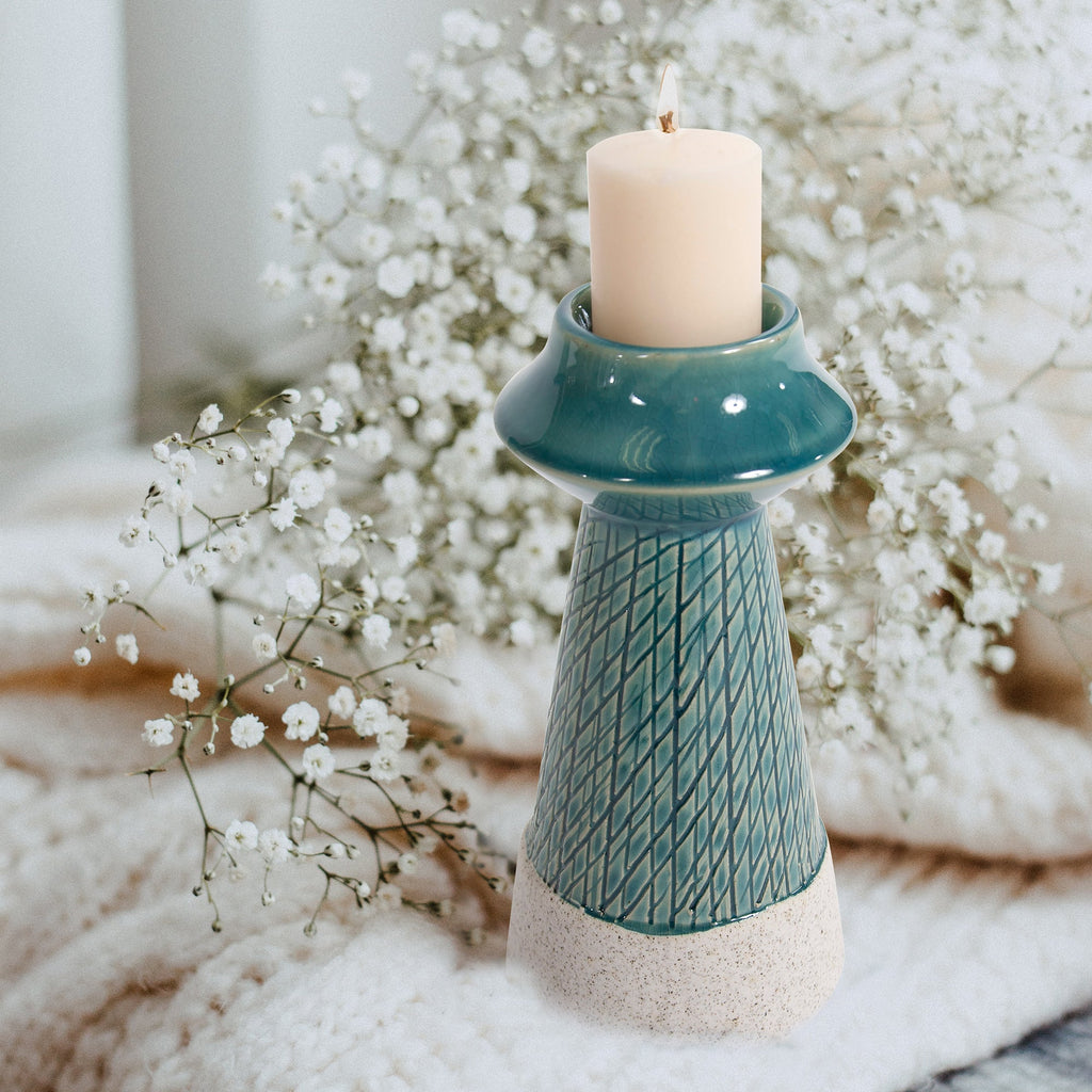 Small Corsica Ceramic Candle Holder, lifestyle view