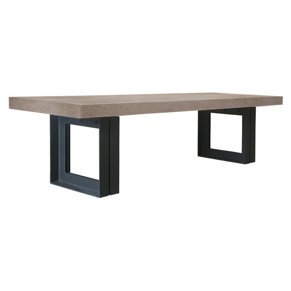 "118"" Gray Top Tuki Dining Table, angled view"