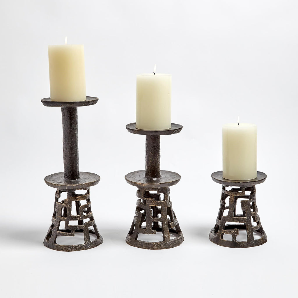 Huangdi Bronze Pillar Holders, collection view with candles