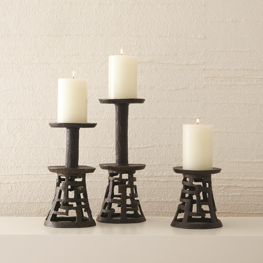 Huangdi Bronze Pillar Holders, secondary collection view with lit candles