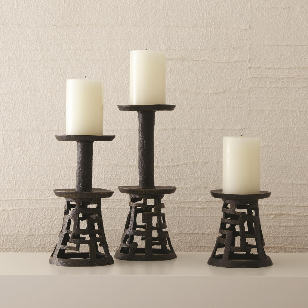 Huangdi Bronze Pillar Holders, secondary collection view with unlit candles