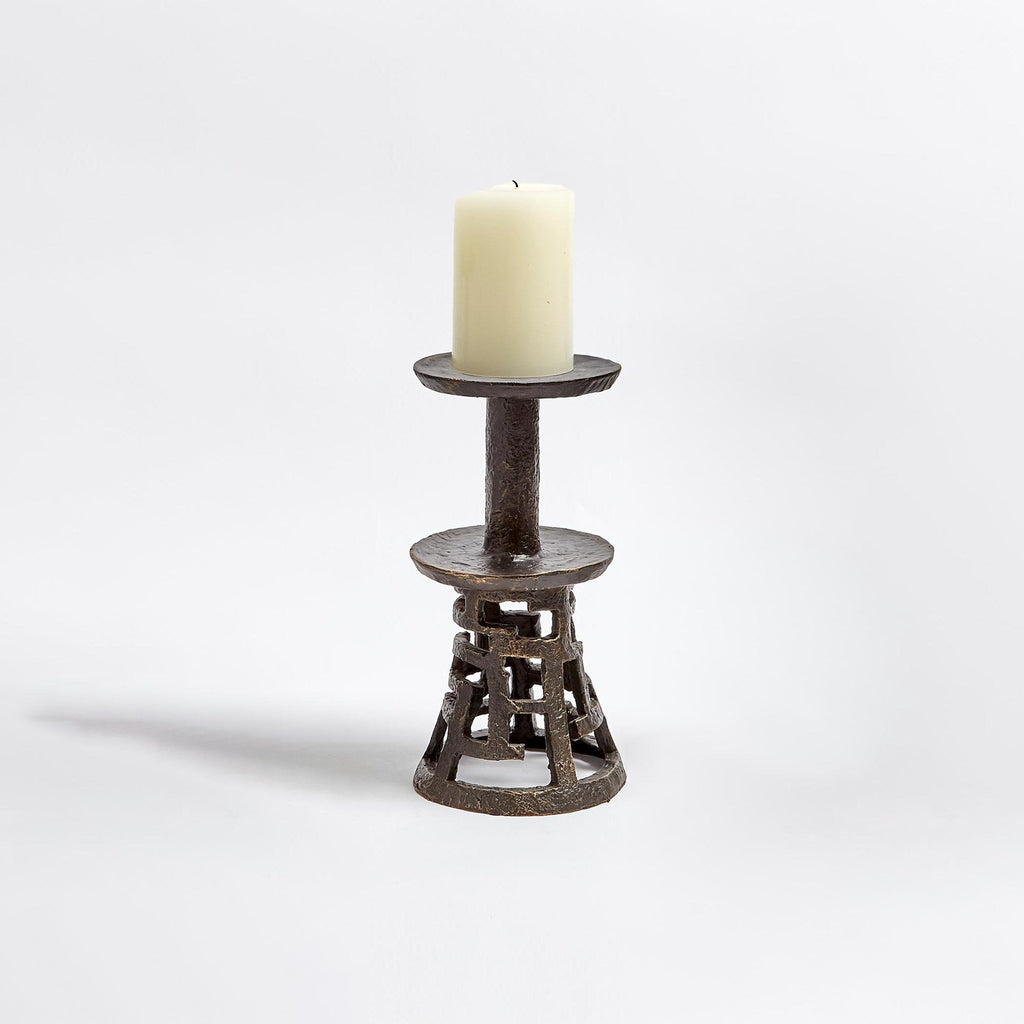 Medium Huangdi Bronze Pillar Holder, secondary front view with candle