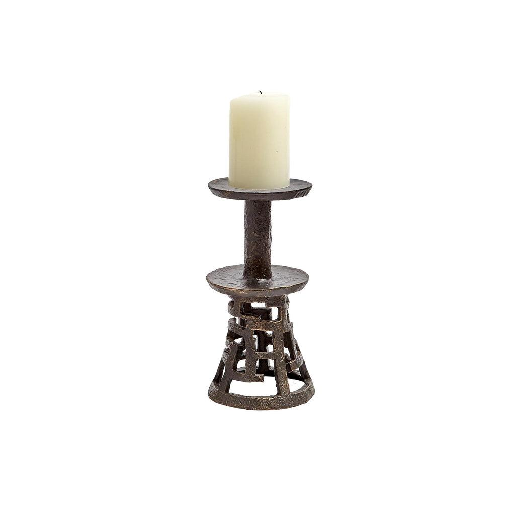 Medium Huangdi Bronze Pillar Holder, front view with candle