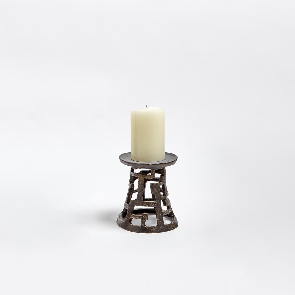 Small Huangdi Bronze Pillar Holder, secondary front view with candle