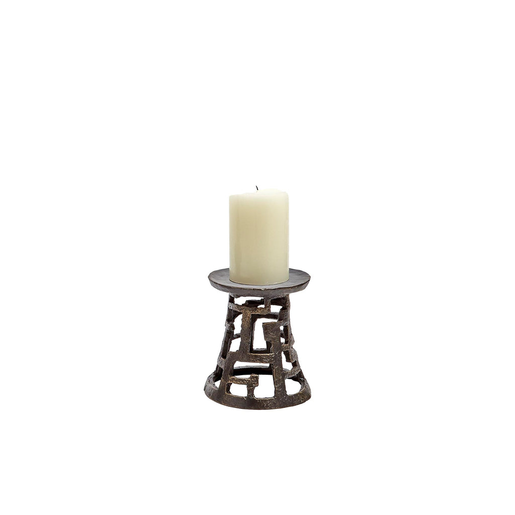 Small Huangdi Bronze Pillar Holder, front view with candle