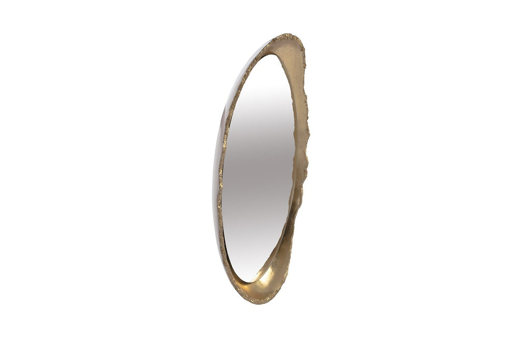 White and Gold Lustrous Egg Mirror, side view