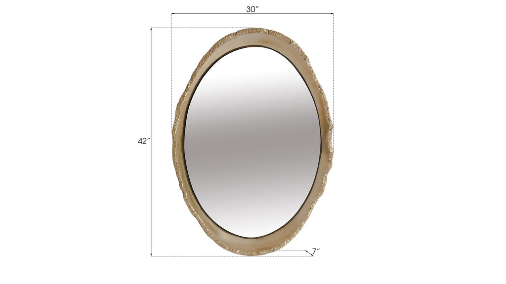 White and Gold Lustrous Egg Mirror, dimensions and measurements