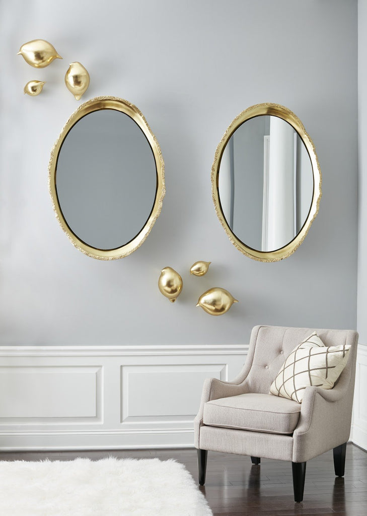 White and Gold Lustrous Egg Mirror, lifestyle view