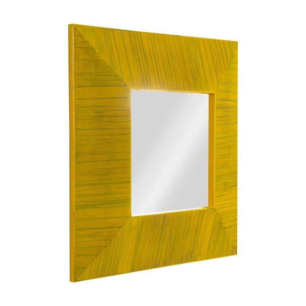 Lined Bamboo Mirror, angled view
