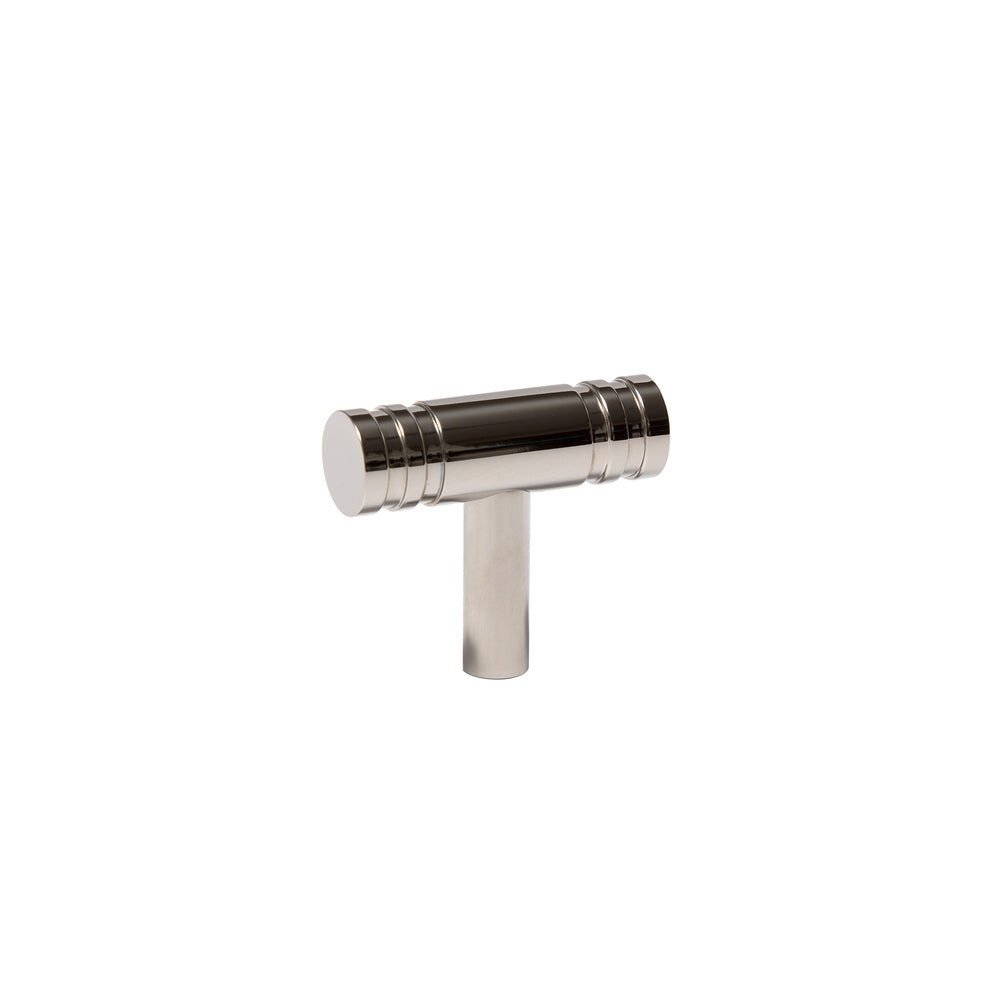 Polished Nickel Reveler Extra Small T-Knob, top angled view