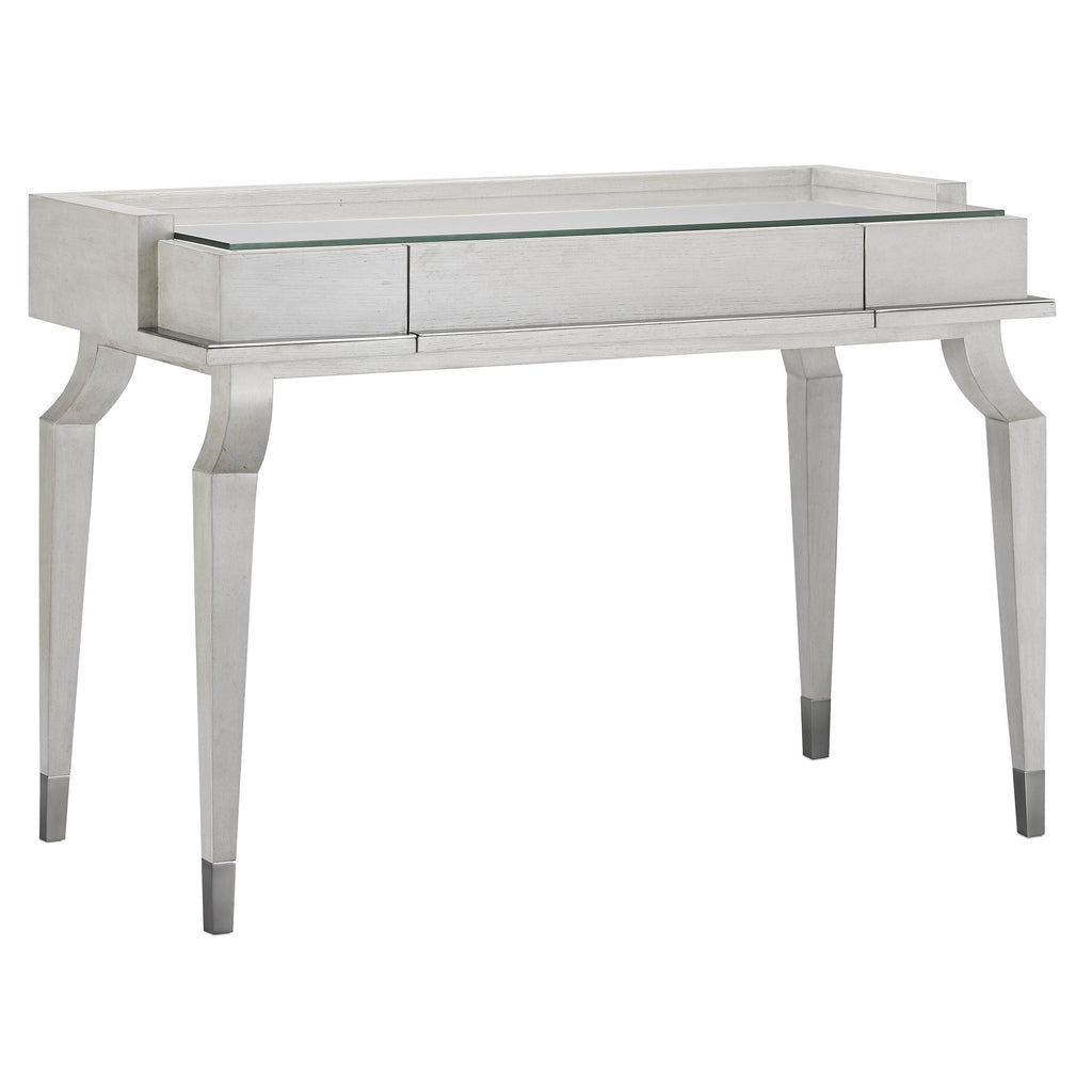 Adjustable Scalloped Desk, side angled view