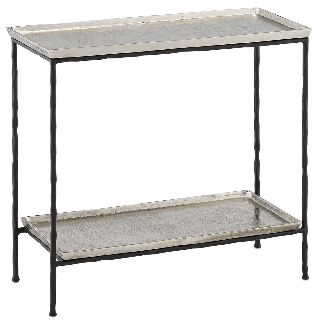 Silver Long Iron Side Table, side view