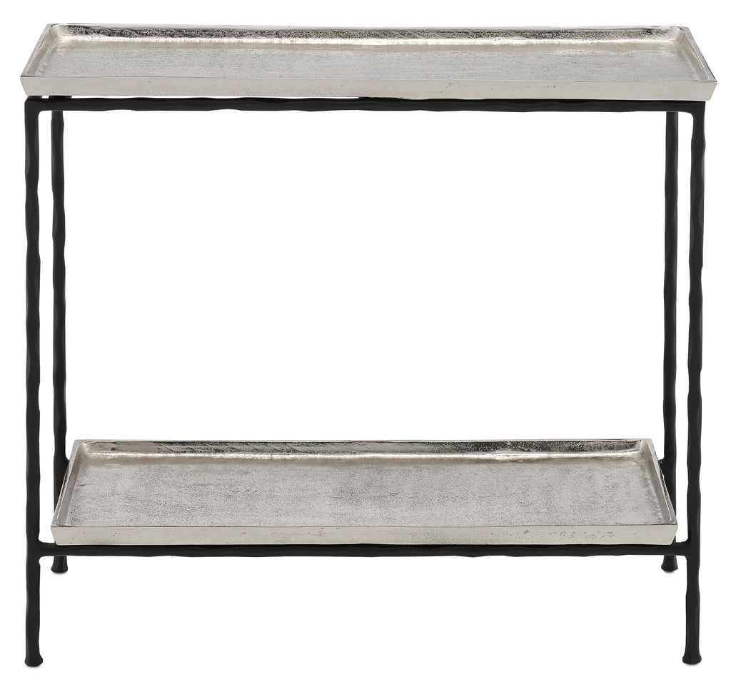 Silver Long Iron Side Table, front view