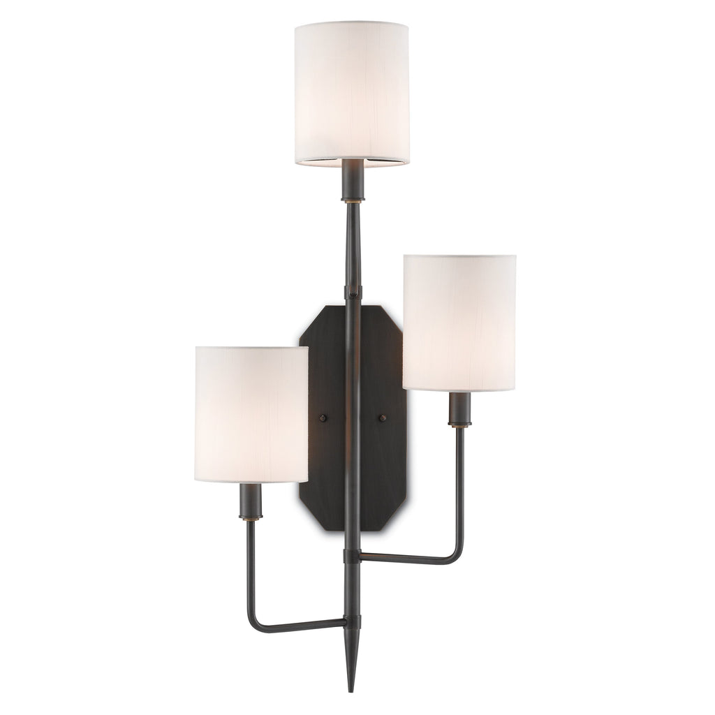 Right Cambridge Wall Sconce, front view lights on