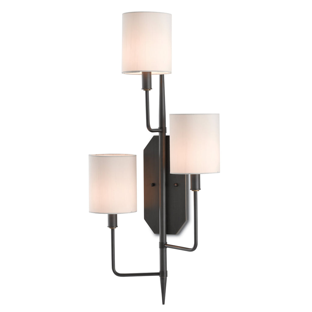 Right Cambridge Wall Sconce, side angled view lights on