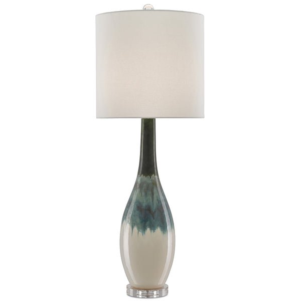 Aquarius Table Lamp, front view lights on