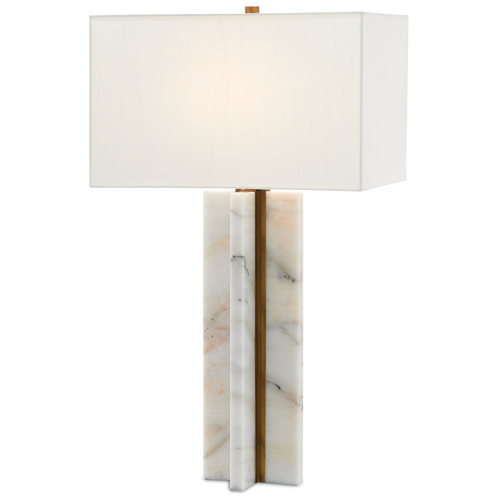 Silvain Table Lamp, side angled view lights on