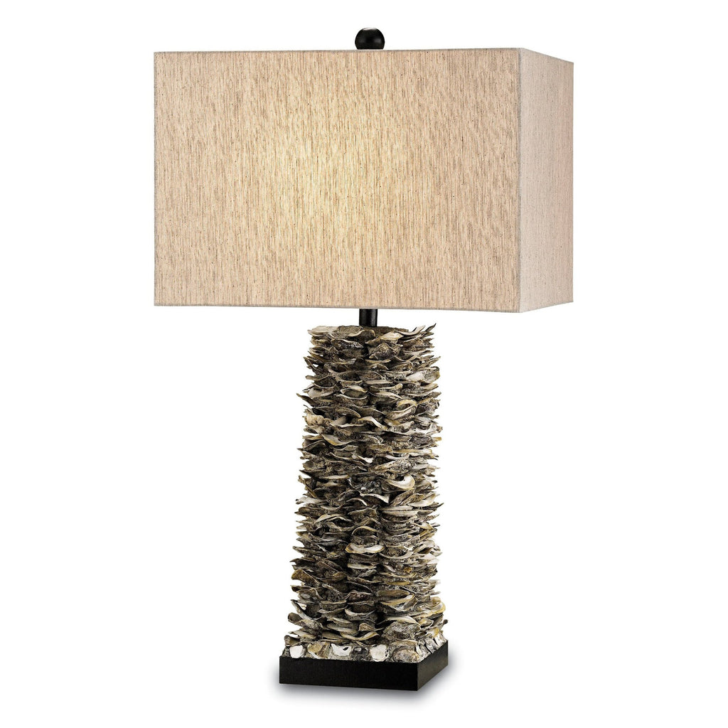 Oyster Bay Table Lamp, angled front view, light on view