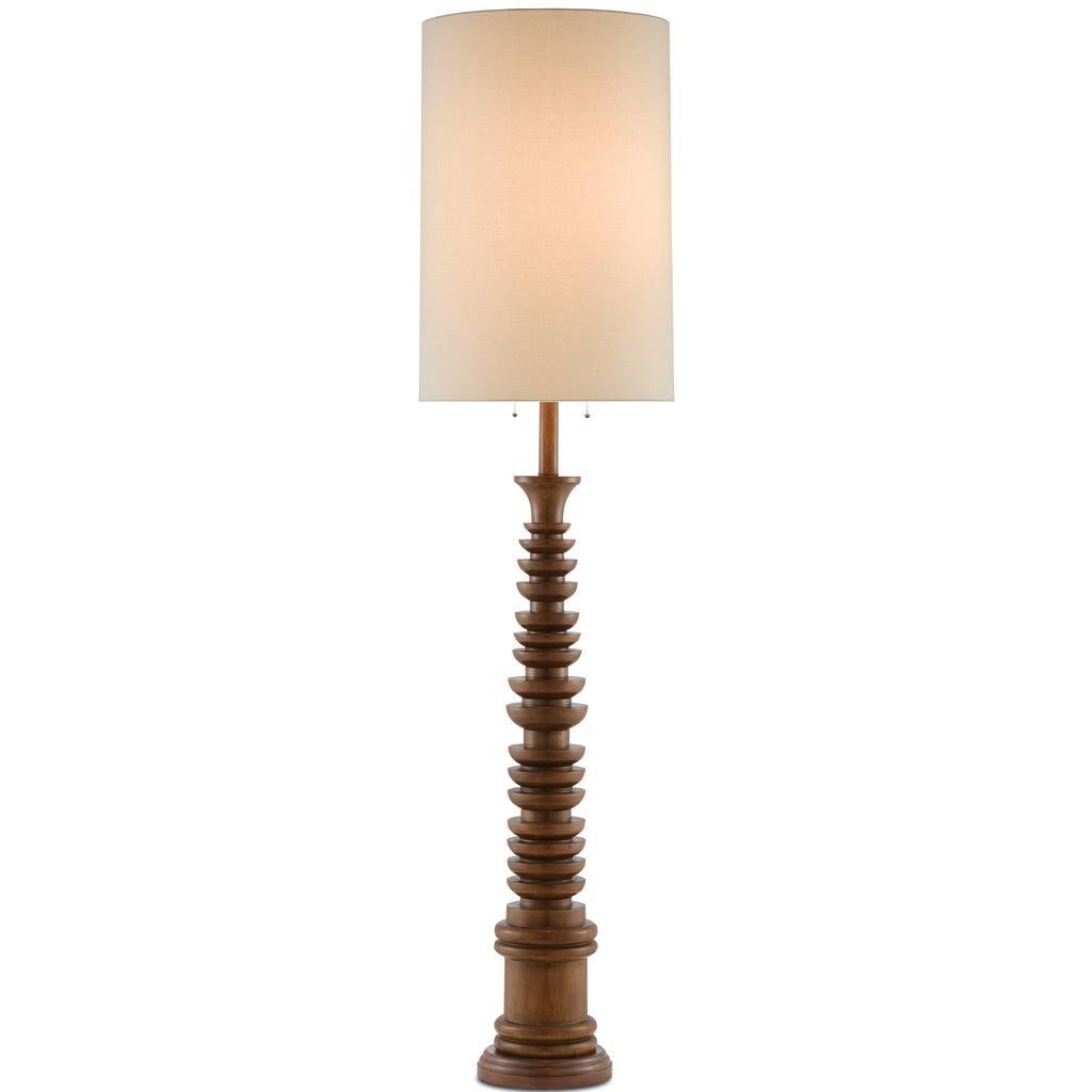 Tass Floor Lamp, front view, light on view