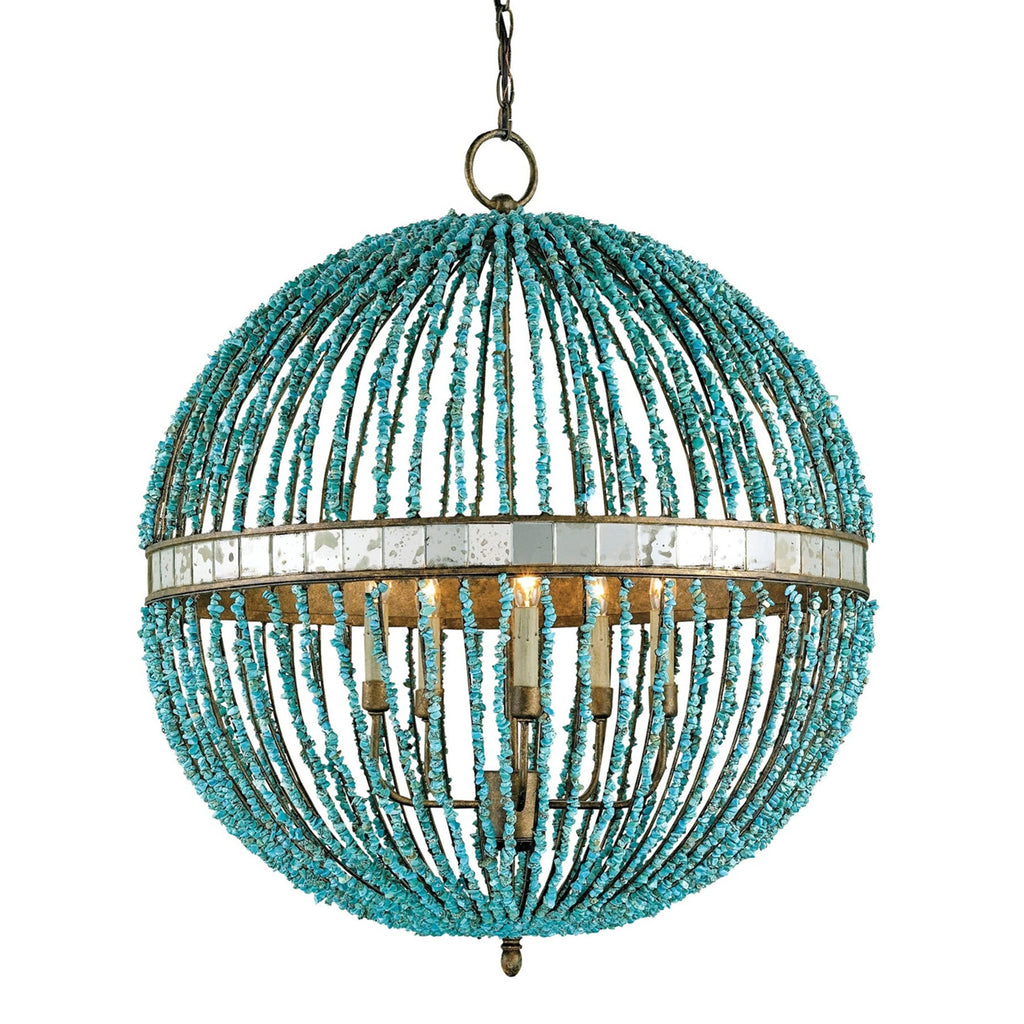 Berth Orb Chandelier, front hanging view, light on view