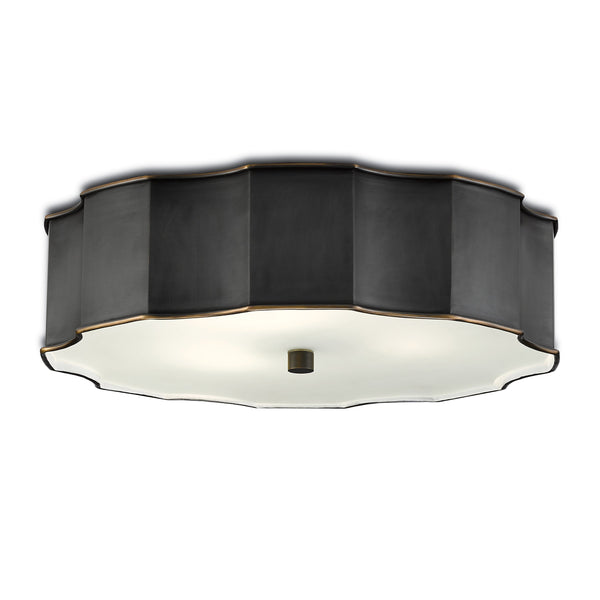 Bronze Wicklow Flush Mount, front angled view, light on view