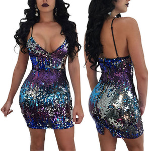 Adogirl Changing Color Sequin Bodycon Deep V Neck Spaghetti Strap Dress