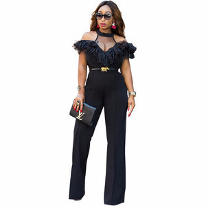 Adogirl Wide Leg Pant Jumpsuit With Ruffled Off Shoulder Sleeves