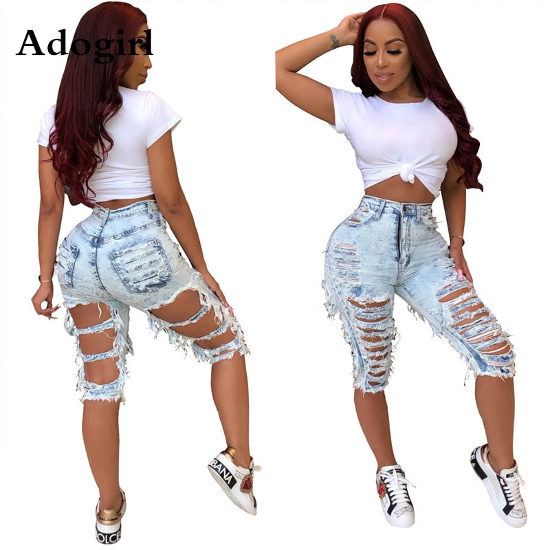 Adogirl Hand-grinding Holes Jeans High Waist Casual Zipper Fly Knee Length Jeans Denim Shorts