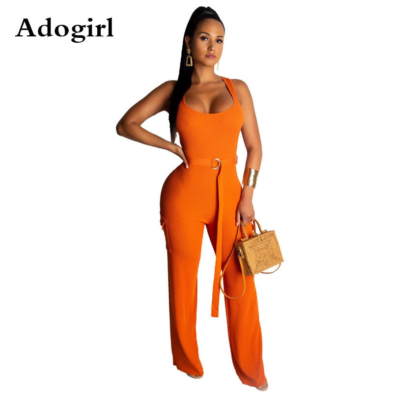 Adogirl Knitted Rib Jumpsuit Sleeveless O Neck Back Zipper Belt wide leg