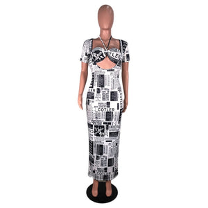 Adogirl Newspaper Print Dress Halter Short Sleeve Long Maxi Dress