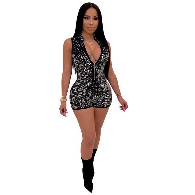 Adogirl Sexy Shiny diamonds Shorts Jumpsuit Deep V Neck Sleeveless